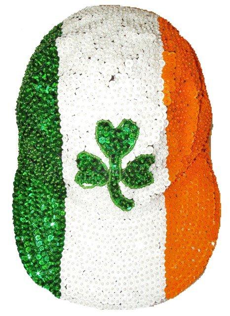 Image 0 of Sequin Baseball Cap Irish Flag w/Shamrock
