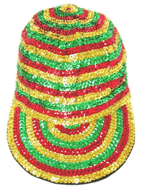 Image 0 of Sequin Baseball Cap Jamaica Colors