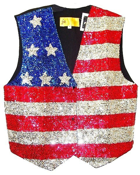 Image 0 of Sequin Vest USA Flag One Shoulder Stars for Kids