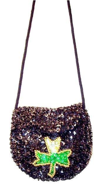 Image 0 of Sequin Purse Black w/Shamrock # SP01