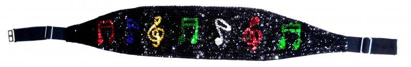 Image 0 of Sequin Cummerbund Belt Black with Color Music Notes
