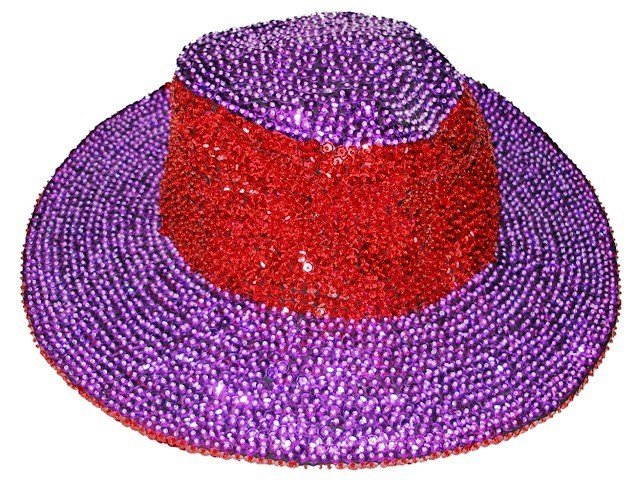 Image 0 of Sequin Cowboy Cowgirl Hat RED  PURPLE Red Hat Society