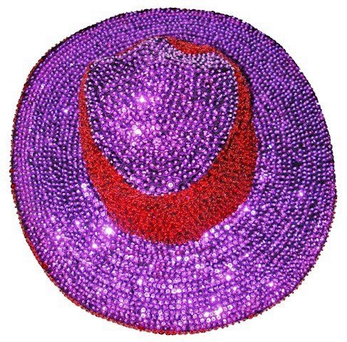 Image 1 of Sequin Cowboy Cowgirl Hat RED  PURPLE Red Hat Society