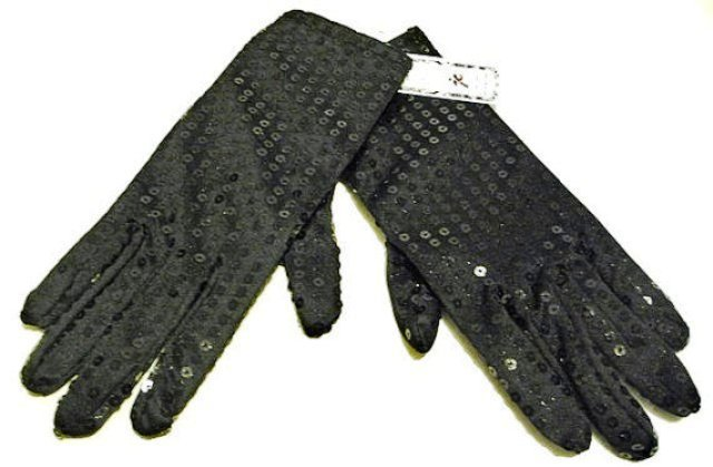 Image 0 of Sequin Hand Gloves BLACK One Pair Costume
