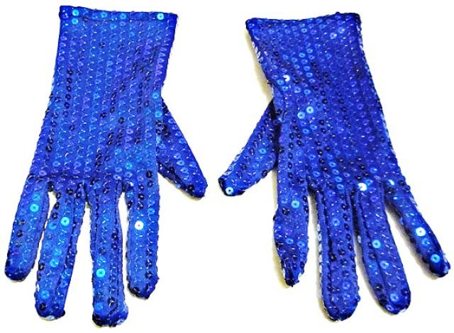 Image 0 of Sequin Hand Gloves BLUE One Pair Costume