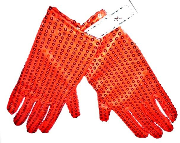 Image 0 of Sequin Hand Gloves RED One Pair Costume