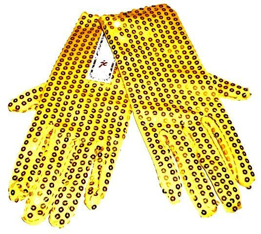 Image 0 of Sequin Hand Gloves GOLD/YELLOW One Pair Costume