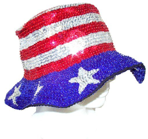 Image 0 of Sequin Flipper Floppy BOATER Hat Stars Stripes 2 USA Flag American Elections