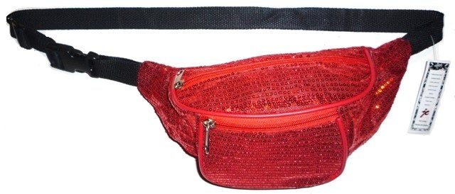 Image 0 of Sequined Fanny Pack RED