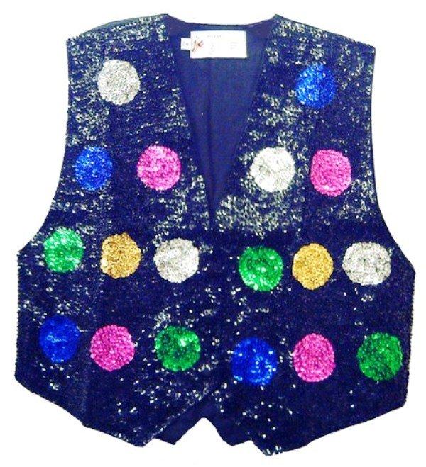 Image 0 of Sequin Vest Black w/Color Dots