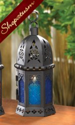 10 Candle Holder Moroccan Lantern Azure Blue Centerpiece