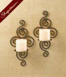 2 Black Wrought Iron Pillar Candle Holders Wall Sconces