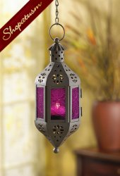 Exotic Mystical Purple Moroccan Hanging Candle Lantern