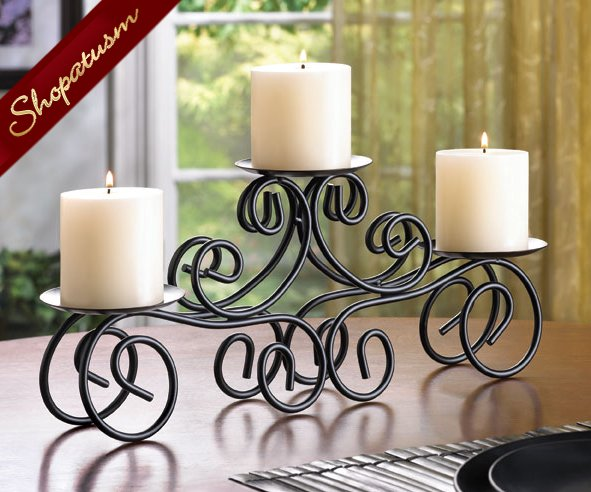 24 Centerpiece Bulk Lot Tuscan Wedding Black Candle Holder Pillar