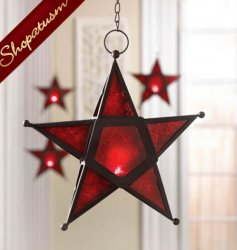 24 Hanging Red Glass Star Candle Holders Lanterns