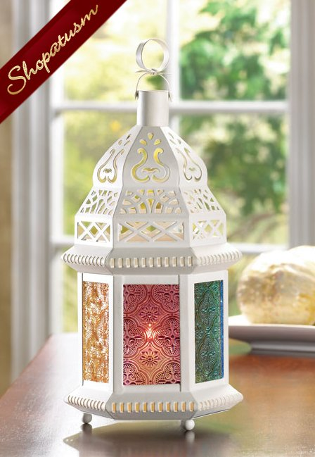 Image 0 of 20 Multi Colored Centerpiece Moroccan Candle Holder Ivory Lantern