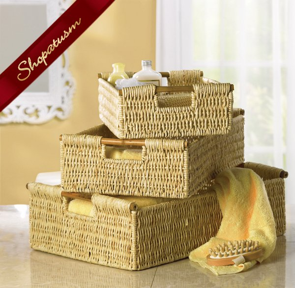 3 Pc Nesting Bath Storage Baskets with Bamboo Handles