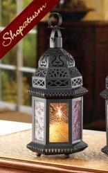36 Black Lantern Centerpiece Candle Holder Moroccan Rainbow Bulk Lot