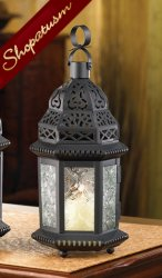 40 Candle Holder Black Moroccan Lantern Winter Fire Centerpiece