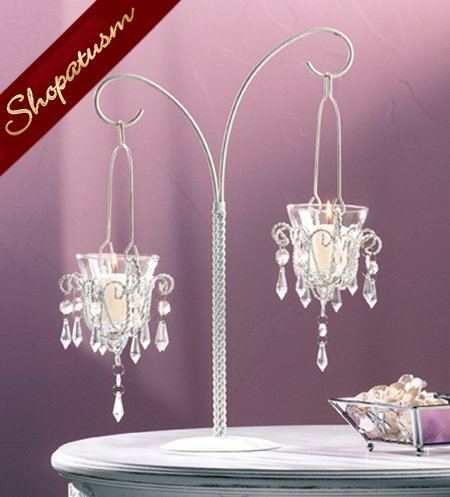 Image 1 of 48 Shabby Crystal Bead Chandelier Wedding Centerpieces Bulk Lot