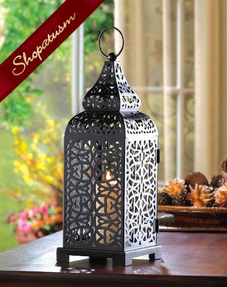 Black Moroccan Tower Candle Holder Lanterns Centerpiece