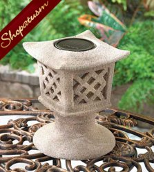 Ceramic Solar Powered Lantern Pagoda Lamp
