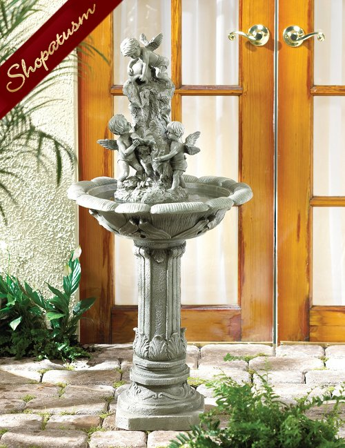Cherubs Playing Fountain, Cherub Sculpture, Indoor Outdoor Garden Fountains