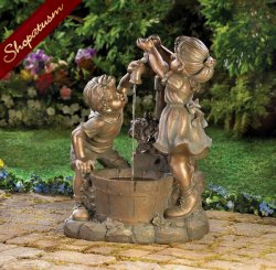 Children Play in Garden Fountain, Children Sculpture, Indoor Outdoor Fountain