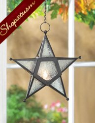 Clear Glass Star Hanging Candle Lantern