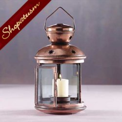 Colonial Style Copper Star Pattern Metal Glass Candle Lantern