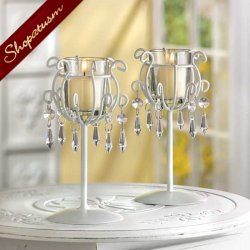 12 Crystal Drops White Candle Holders Wedding Centerpieces Bulk