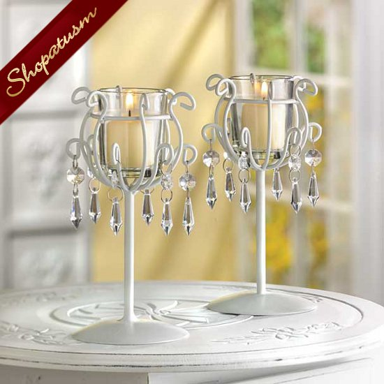 Crystal Drops Candle Holders White Wedding Centerpieces Pair