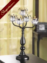 Elegant Black Candelabra with Acrylic Crystal Beads Centerpiece