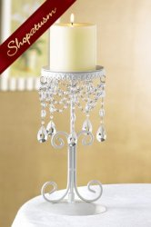 Thumbnail of 10 Crystal Bead Elegant Ivory Candle Holders Centerpiece