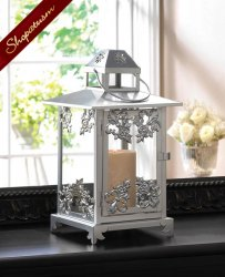 Elegant Silver Finish Scrollwork Candle Lantern Centerpiece