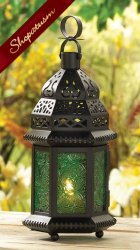 Emerald Green Table Centerpiece Hanging Moroccan Candle Lantern