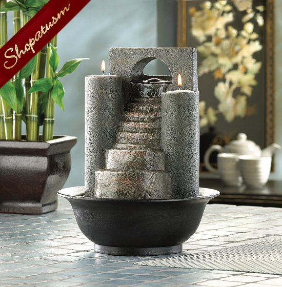 Fire & Water Tabletop Fountain, Eternal Steps Candle Holder, Tabletop Fountain