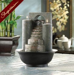 Fire & Water Tabletop Fountain Eternal Steps Candle Holder