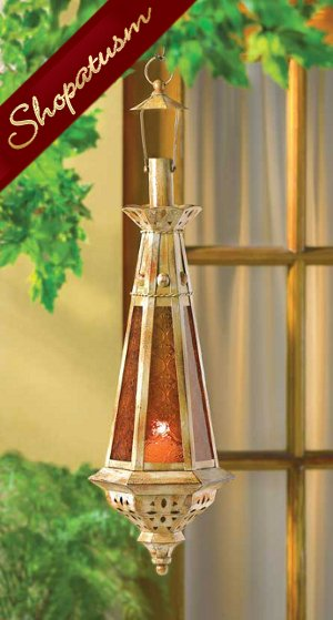 Image 0 of Exotic Hanging Lantern Lamp Amber Tear Drop Glass Moroccan