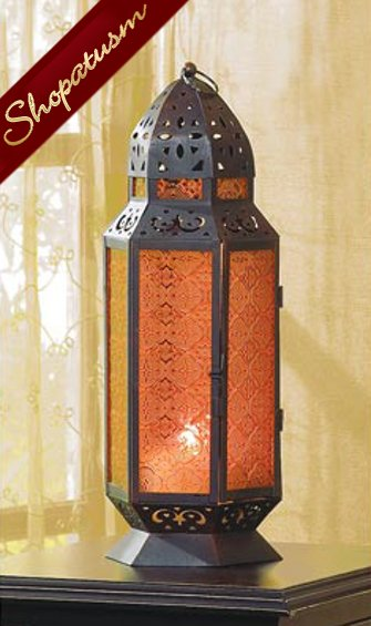 36 Exotic Tall Moroccan Amber Glass Centerpieces Metal Table Lanterns