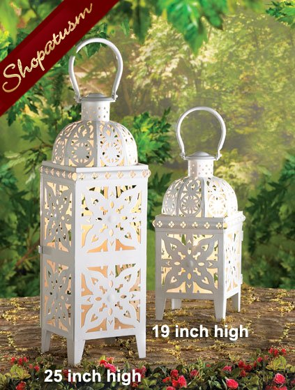 48 Medallion Wholesale Lanterns Centerpieces Giant White Square 25 Inch