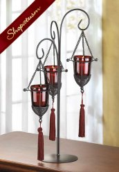 Hanging Tasseled Metal Garnet Red Candle Wedding Centerpiece