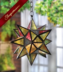 Hanging Moroccan Multicolored Jewel Glass Star Lantern