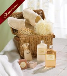Spa in a Basket, Bath & Body Basket Gift Set, Honey Vanilla Basket Set