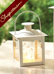 Ivory Old Fashioned Metal & Glass Candle Lantern Small