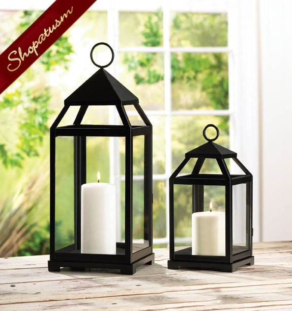 Large Centerpiece Black Square Contemporary Candle Lantern