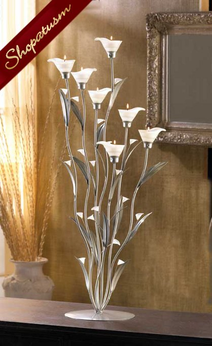 36 Silver Calla Lily Candle Holder Large Floral Wedding Centerpiece
