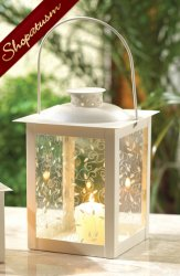 Large White Ivory Old Fashioned Metal & Glass Table Lantern