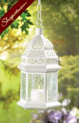 24 Centerpiece Large White Moroccan Elegant Lacy Candle Lantern