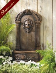Lion Wall Fountain Courtyard Garden Decor Indoor Outdoor With Water Pump